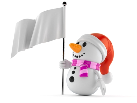 Snowman character holding white flag isolated on white background