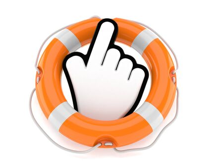 Cursor with life buoy isolated on white background