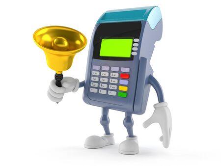 Personaje de lector de tarjeta de crédito sonando una campanilla aislada sobre fondo blanco Foto de archivo - 81306147