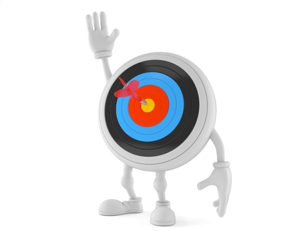 bull's eye: Bulls eye character with hand up isolated on white background