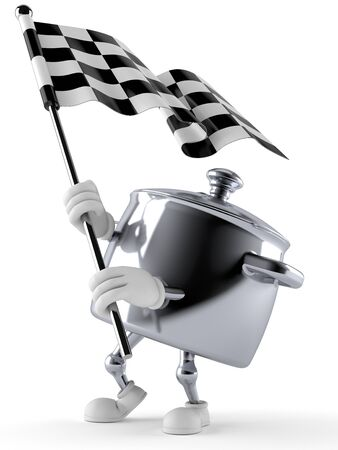 Kitchen pot character waving race flag isolated on white background