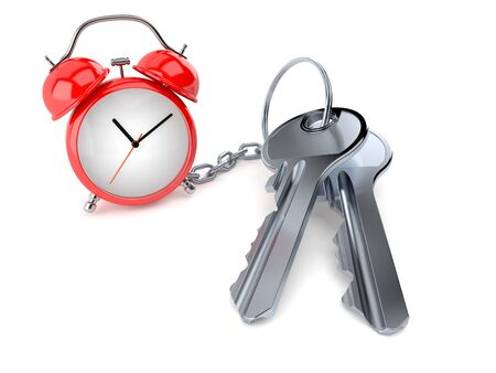 Door keys with alarm clock isolated on white background