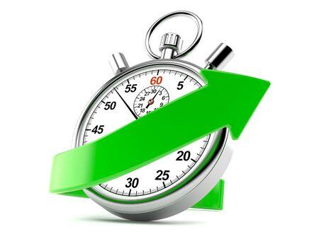 Chronometer met groene die pijl op witte achtergrond wordt geïsoleerd Stockfoto