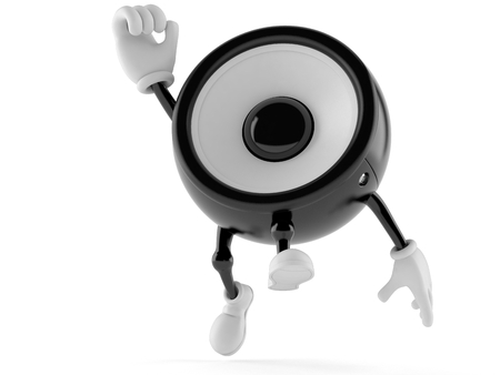 loud speaker: Speaker character jumping in joy isolated on white background Stock Photo