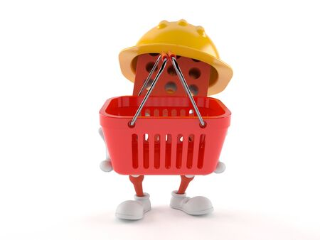 mason: Brick character holding shopping basket isolated on white background Stock Photo