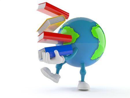 Wereldbol karakter dragende boeken geïsoleerd op witte achtergrond