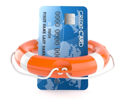 creditcards: Credit card with life buoy isolated on white background