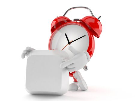 Alarm clock character with blank keyboard key isolated on white background Stock Photo