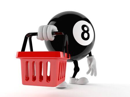 game of pool: Eight ball character holding shopping basket isolated on white background