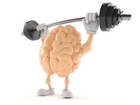 Brain character lifting heavy barbell isolated on white background