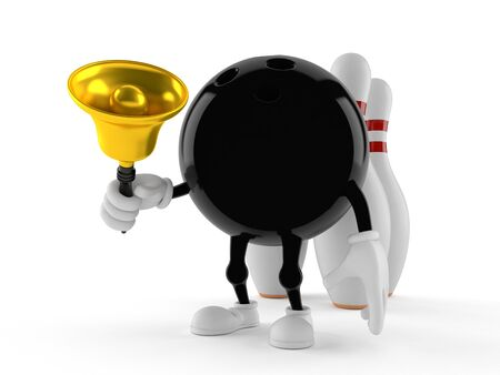 Bowling character holding handbell on white background Stock Photo