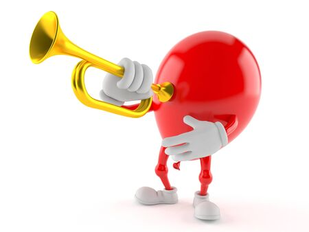 Balloon character playing the trumpet isolated on white background