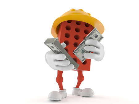 Brick character counting money on white background Stock Photo