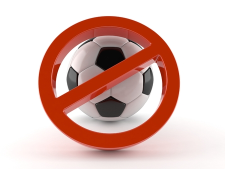 Forbidden symbol with soccer ball isolated on white background