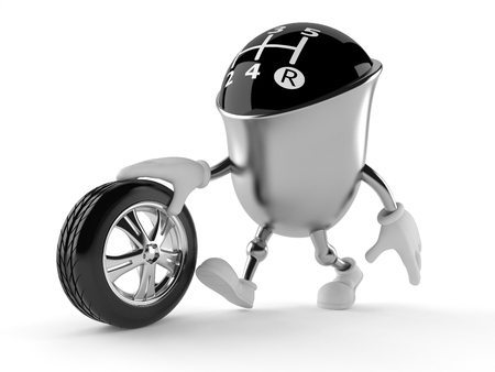 Gear knob character with car tire isolated on white background Stock Photo