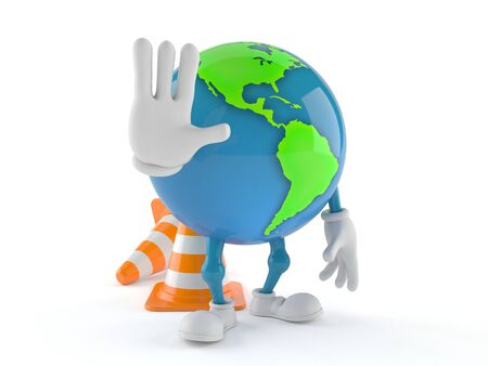 World globe character with traffic cones isolated on white background