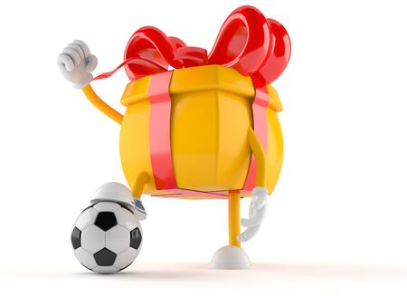 Gift character with soccer ball isolated on white background Stock Photo