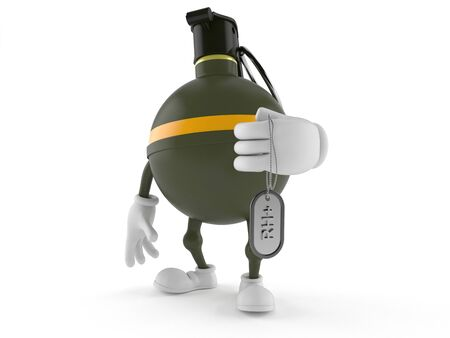 handgrenade: Hand grenade character isolated on white background
