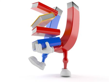 Magnet character carrying books isolated on white background