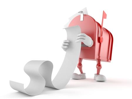 Mailbox karakter lezing lange lijst op witte achtergrond Stockfoto
