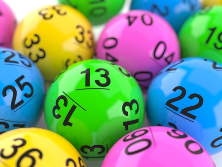 Lottery balls on close view