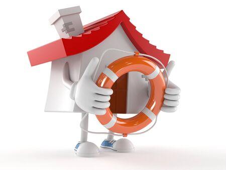 House character holding life buoy isolated on white background Stockfoto
