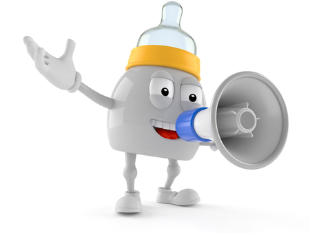 Baby bottle character speaking through a megaphone isolated on white background