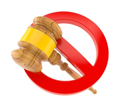 Judge hammer with forbidden sign isolated on white background