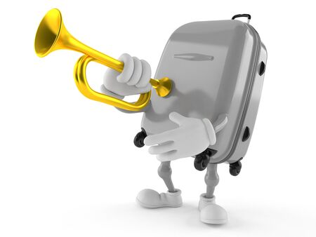 Suitcase character playing on a trumpet isolated on white background