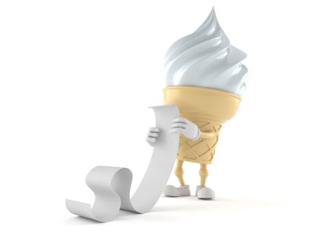 Ice cream character reading long list isolated on white background