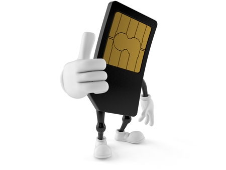 SIM card character with thumbs up gesture isolated on white background