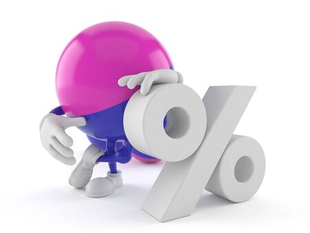 paintball: Paintball character with percent symbol isolated on white background Stock Photo