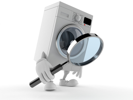 Washer character looking through magnifying glass isolated on white background Stock Photo