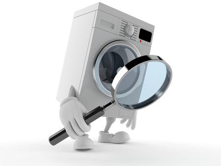 Wasmachinekarakter die die door vergrootglas kijken op witte achtergrond wordt geïsoleerd