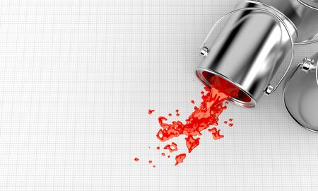 paintcan: Spilled paint on blank sheet of paper