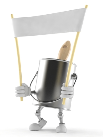 paintcan: Paint can character holding blank banner isolated on white background Stock Photo