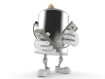 paintcan: Paint can character counting money on white background Stock Photo