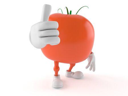엄지 손가락 최대 토마토 문자에 격리 된 흰색 배경 스톡 콘텐츠