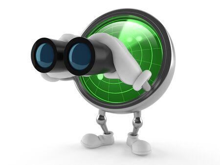 Radar toon with binoculars isolated on white background
