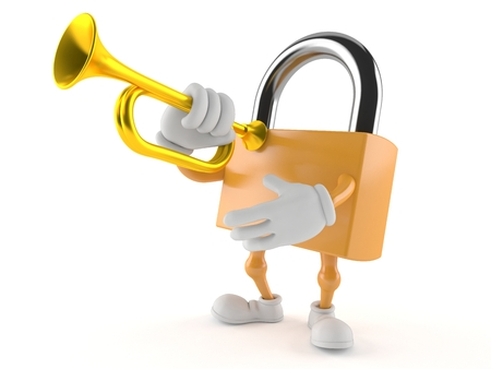Padlock character playing the trumpet isolated on white background Stock Photo