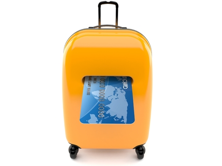 Luggage with credit card isolated on white background Stock Photo