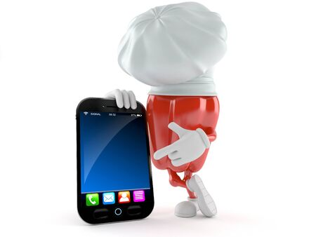 Paprika toon with smart phone isolated on white background