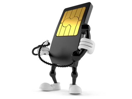 SIM card character holding a telephone handset isolated on white background
