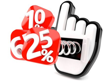 Numbers with percent symbols and cursor isolated on white background