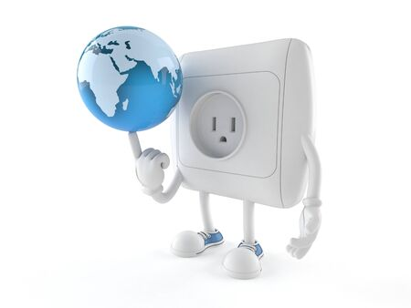 Outlet character with world globe isolated on white background Stock Photo