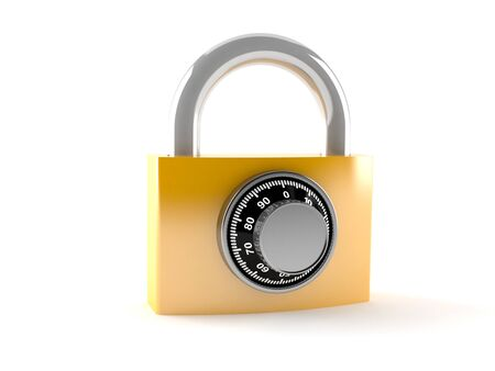 Padlock with combination lock isolated on white background