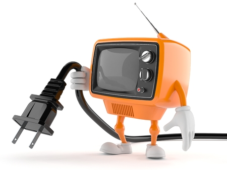 Retro TV with electric plug isolated on white background Stock Photo