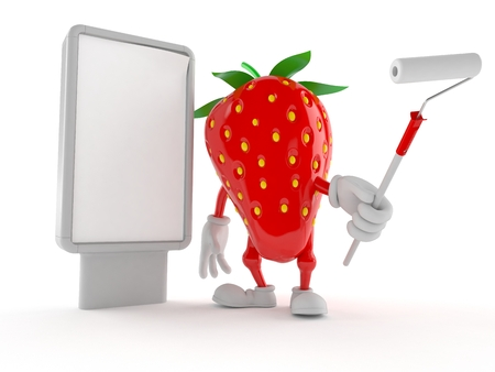 Strawberry character with blank billboard isolated on white background