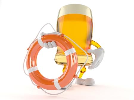 alcoholismo: Carácter de la cerveza sosteniendo la boya de la vida aislada en el fondo blanco