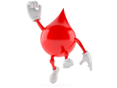 Blood drop character jumping on white background